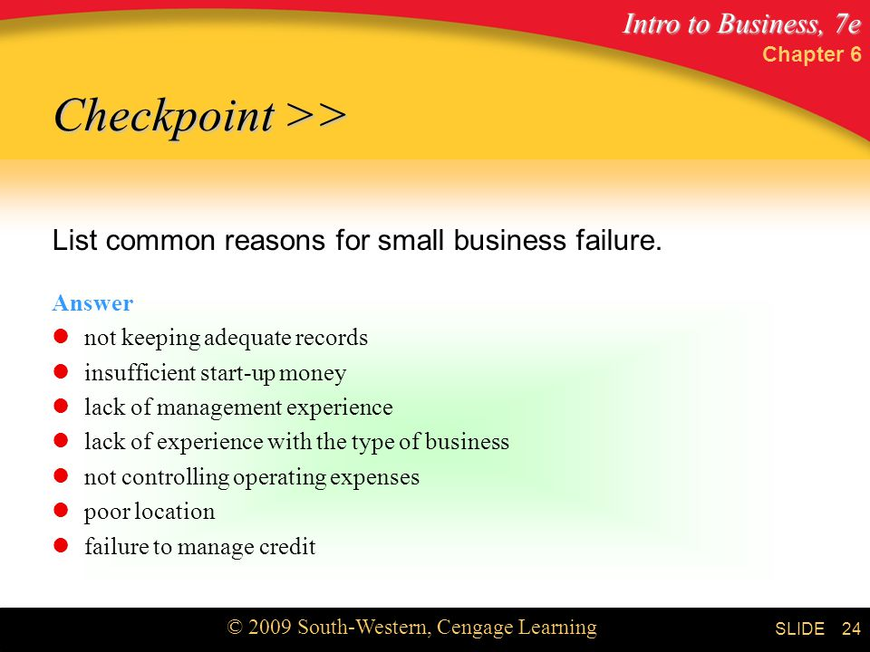 Intro to Business, 7e © 2009 South-Western, Cengage Learning SLIDE Chapter 6 24 List common reasons for small business failure.