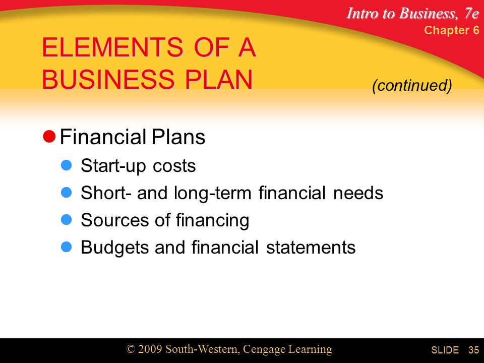 Intro to Business, 7e © 2009 South-Western, Cengage Learning SLIDE Chapter 6 35 ELEMENTS OF A BUSINESS PLAN Financial Plans Start-up costs Short- and long-term financial needs Sources of financing Budgets and financial statements (continued)