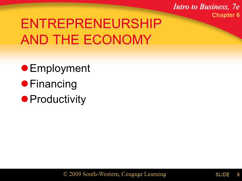 Intro to Business, 7e © 2009 South-Western, Cengage Learning SLIDE Chapter 6 9 ENTREPRENEURSHIP AND THE ECONOMY Employment Financing Productivity