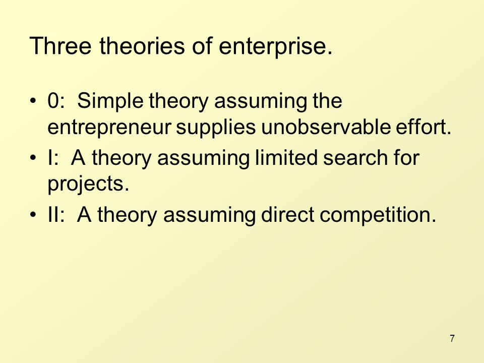 7 Three theories of enterprise.