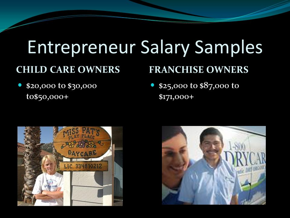 Entrepreneur Salary Samples CHILD CARE OWNERS FRANCHISE OWNERS $20,000 to $30,000 to$50,000+ $25,000 to $87,000 to $171,000+