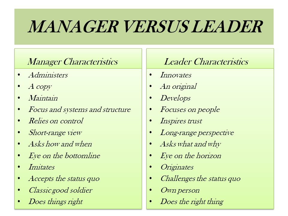 MANAGER VERSUS LEADER Manager Characteristics Administers A copy Maintain Focus and systems and structure Relies on control Short-range view Asks how