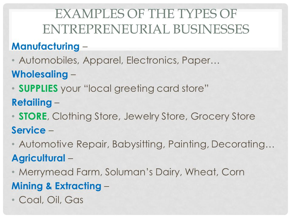 """EXAMPLES OF THE TYPES OF ENTREPRENEURIAL BUSINESSES Manufacturing – Automobiles, Apparel, Electronics, Paper… Wholesaling – SUPPLIES your """"local greet"""