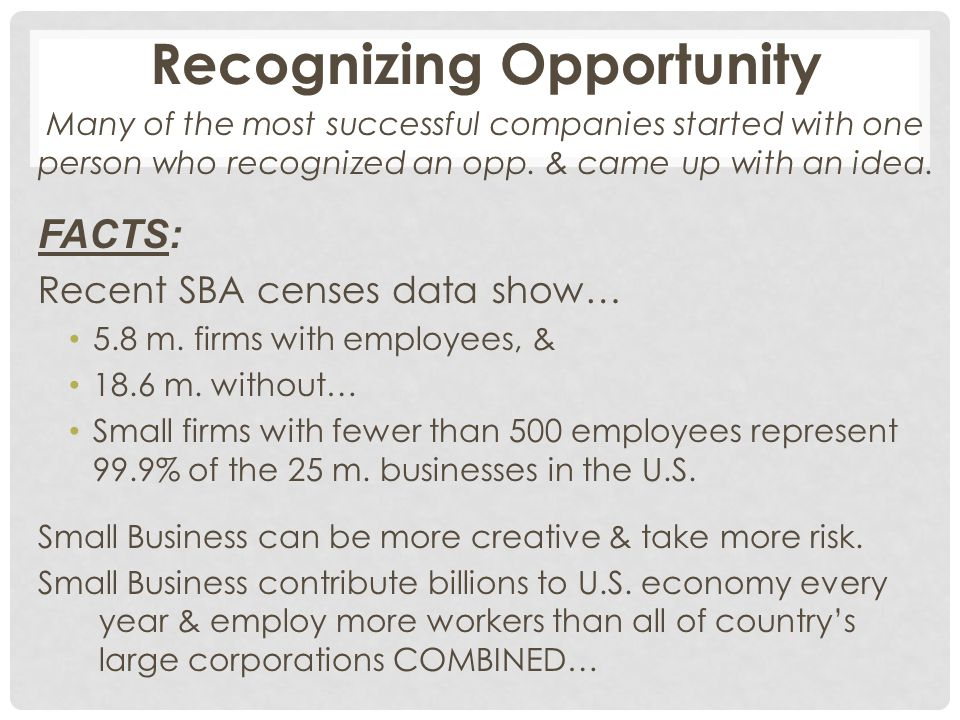 Recognizing Opportunity Many of the most successful companies started with one person who recognized an opp. & came up with an idea. FACTS: Recent SBA