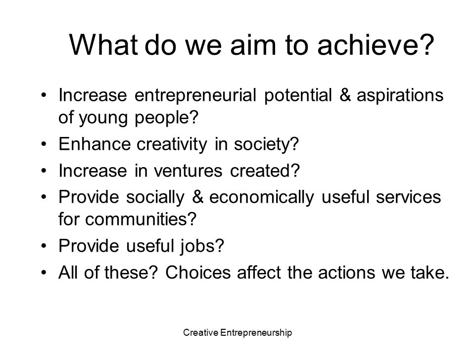 Creative Entrepreneurship What do young entrepreneurs want & need.
