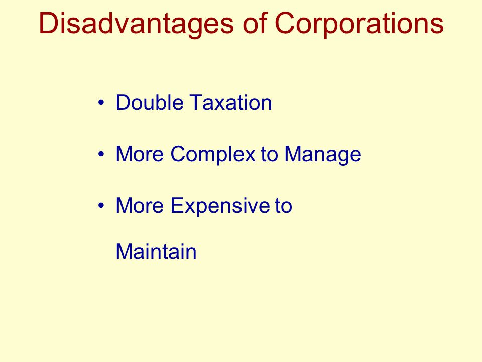 Disadvantages of Corporations Double Taxation More Complex to Manage More Expensive to Maintain