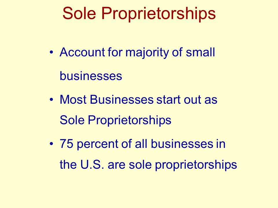 Sole Proprietorships Account for majority of small businesses Most Businesses start out as Sole Proprietorships 75 percent of all businesses in the U.