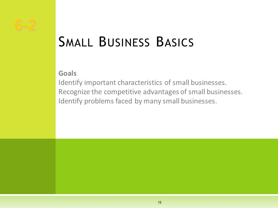 15 Goals Identify important characteristics of small businesses. Recognize the competitive advantages of small businesses. Identify problems faced by