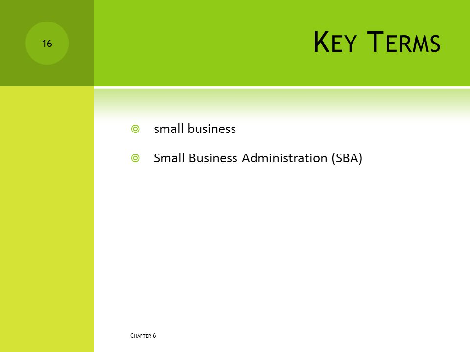 K EY T ERMS  small business  Small Business Administration (SBA) C HAPTER 6 16