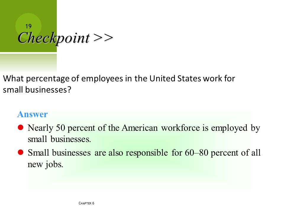 C HAPTER 6 19 What percentage of employees in the United States work for small businesses? Answer Nearly 50 percent of the American workforce is emplo