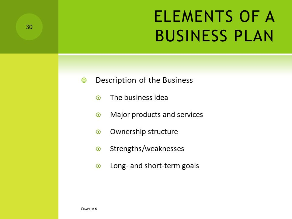 ELEMENTS OF A BUSINESS PLAN  Description of the Business  The business idea  Major products and services  Ownership structure  Strengths/weakness