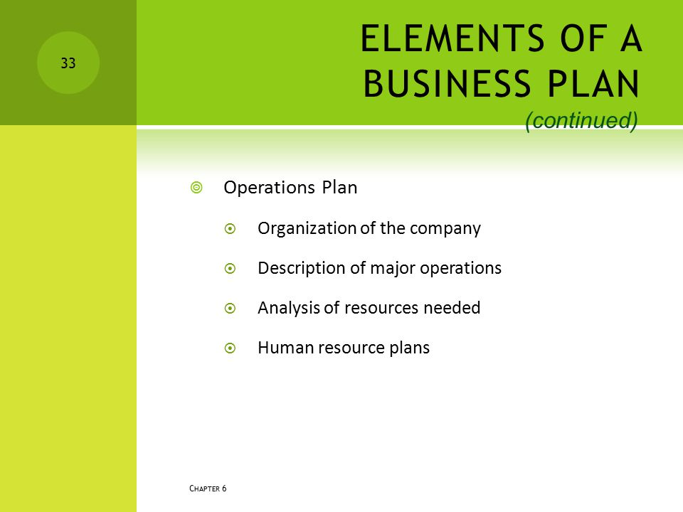 ELEMENTS OF A BUSINESS PLAN  Operations Plan  Organization of the company  Description of major operations  Analysis of resources needed  Human r