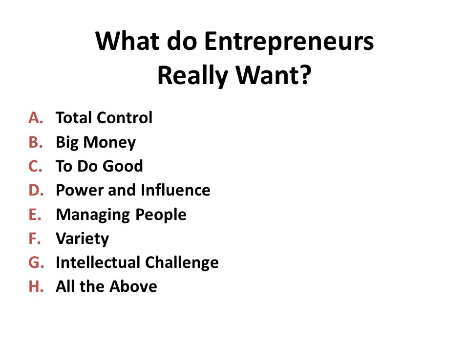 What do Entrepreneurs Really Want.
