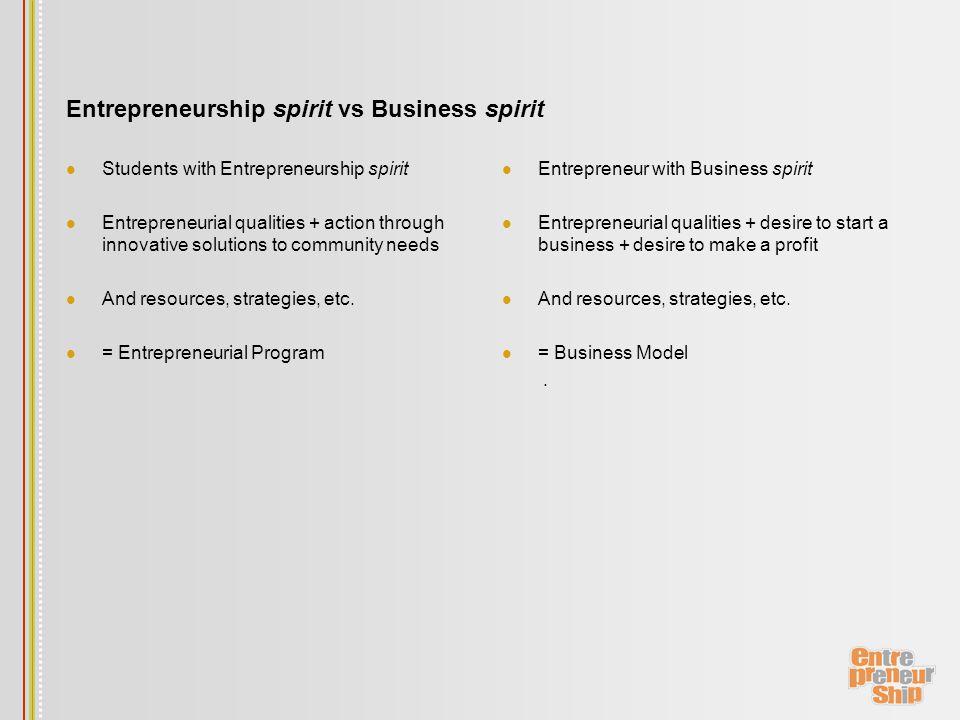 Entrepreneurship spirit vs Business spirit Students with Entrepreneurship spirit Entrepreneurial qualities + action through innovative solutions to community needs And resources, strategies, etc.