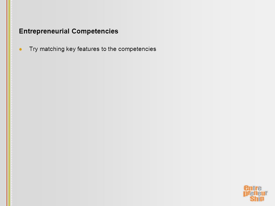 Entrepreneurial Competencies Try matching key features to the competencies