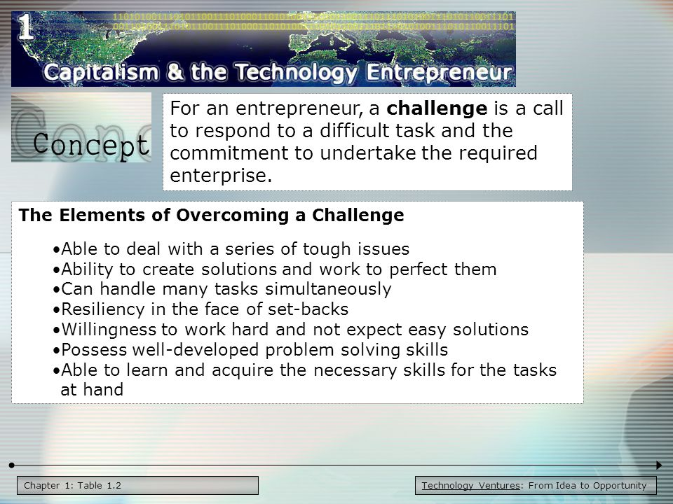 Technology Ventures: From Idea to OpportunityChapter 1: concept An opportunity is a favorable juncture of circumstances with a good chance for success or progress.
