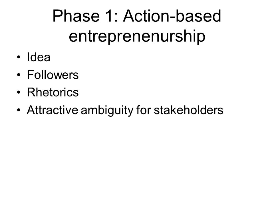 Phase 1: Action-based entreprenenurship Idea Followers Rhetorics Attractive ambiguity for stakeholders