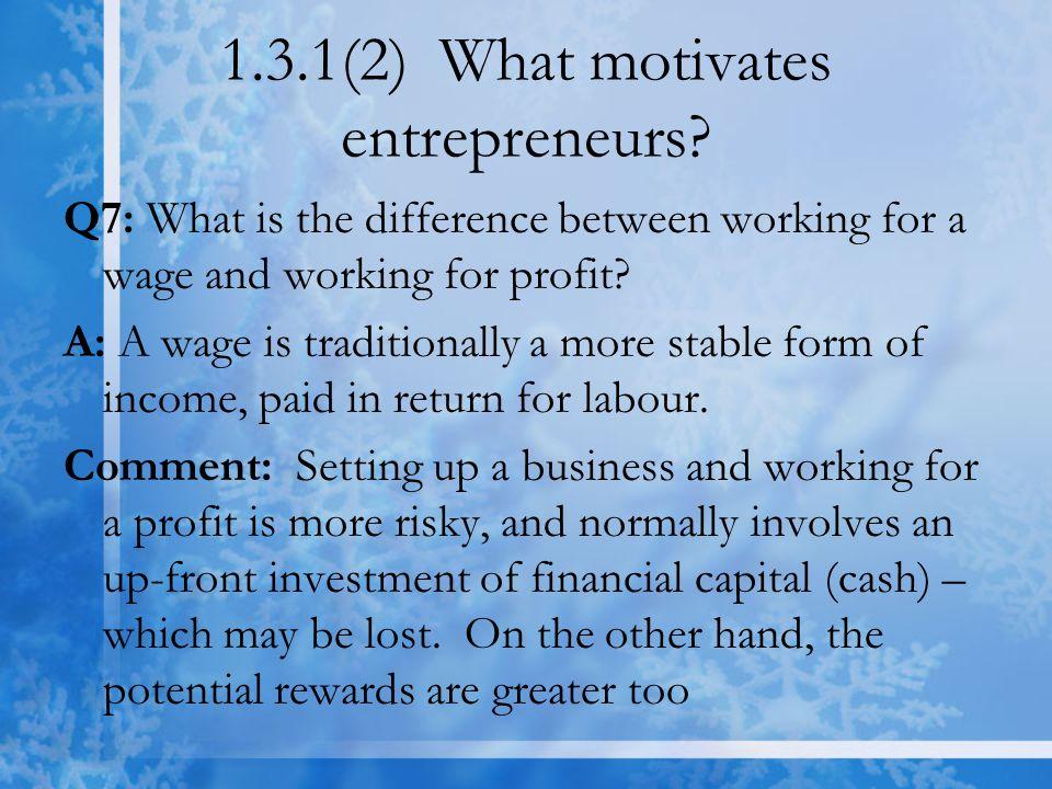 1.3.1(2) What motivates entrepreneurs.