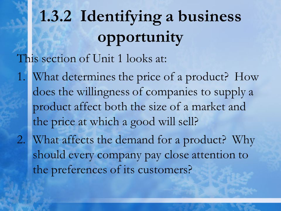 1.3.2 Identifying a business opportunity This section of Unit 1 looks at: 1.What determines the price of a product.
