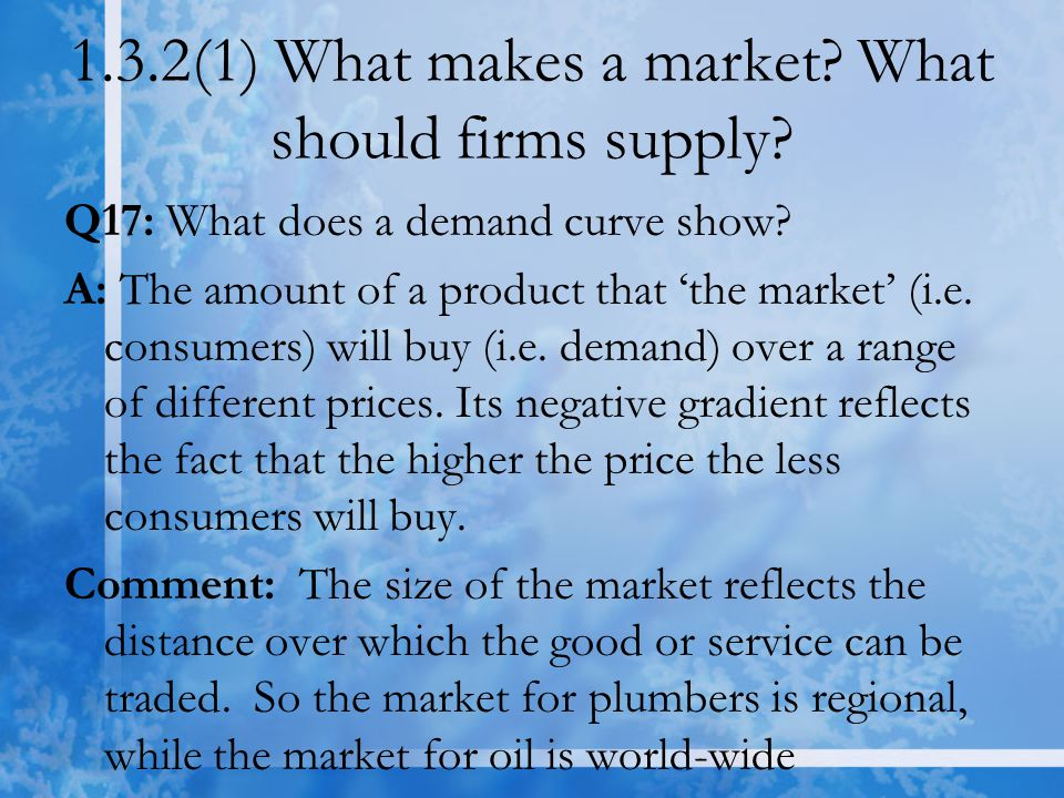1.3.2(1) What makes a market. What should firms supply.