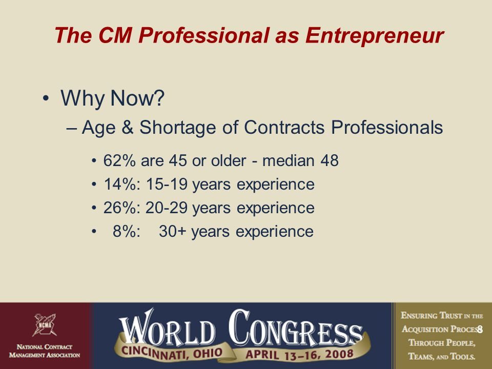 8 The CM Professional as Entrepreneur Why Now.