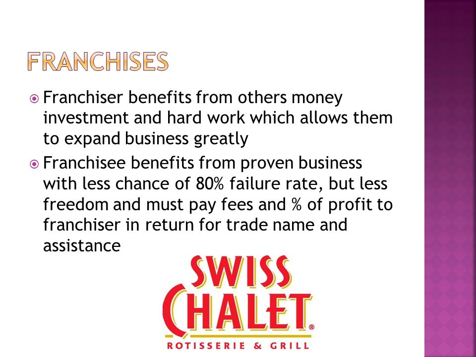  Franchiser benefits from others money investment and hard work which allows them to expand business greatly  Franchisee benefits from proven business with less chance of 80% failure rate, but less freedom and must pay fees and % of profit to franchiser in return for trade name and assistance