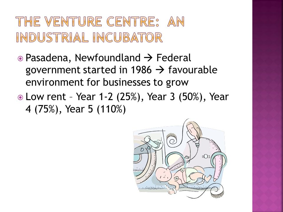  Pasadena, Newfoundland  Federal government started in 1986  favourable environment for businesses to grow  Low rent – Year 1-2 (25%), Year 3 (50%