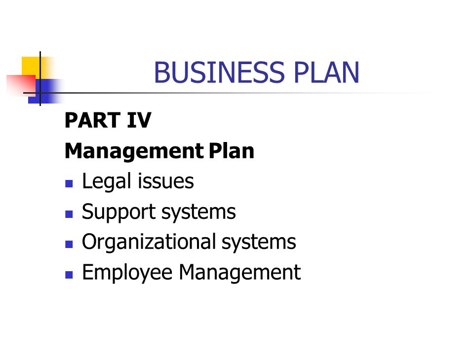 BUSINESS PLAN PART IV Management Plan Legal issues Support systems Organizational systems Employee Management