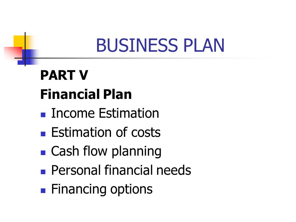 BUSINESS PLAN PART V Financial Plan Income Estimation Estimation of costs Cash flow planning Personal financial needs Financing options
