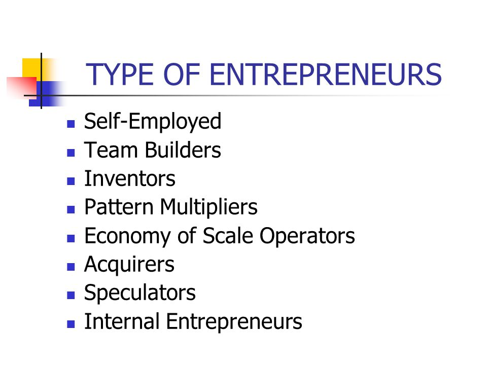 TYPE OF ENTREPRENEURS Self-Employed Team Builders Inventors Pattern Multipliers Economy of Scale Operators Acquirers Speculators Internal Entrepreneurs