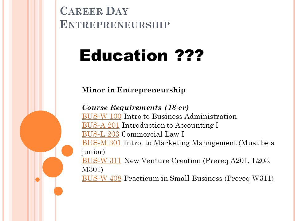 C AREER D AY E NTREPRENEURSHIP Education .