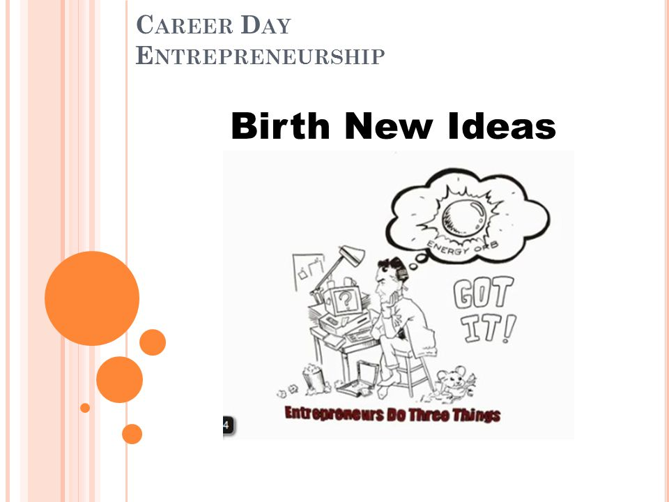 C AREER D AY E NTREPRENEURSHIP Birth New Ideas