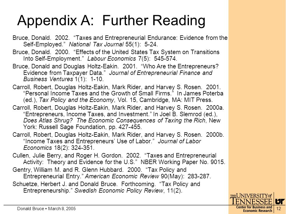 Donald Bruce  March 8, 200512 Appendix A: Further Reading Bruce, Donald.