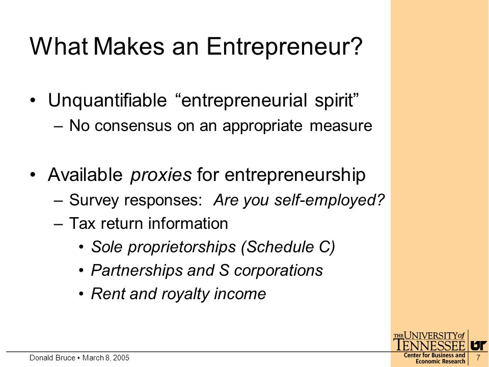 Donald Bruce  March 8, 20057 What Makes an Entrepreneur.