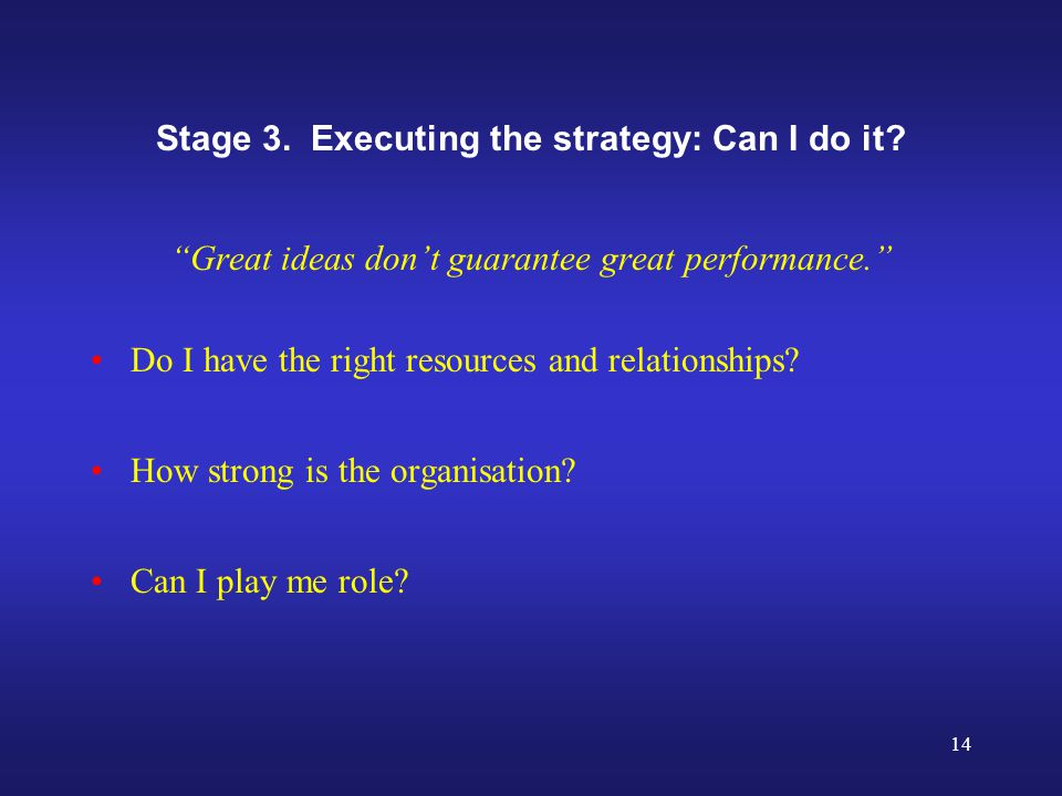14 Stage 3. Executing the strategy: Can I do it.