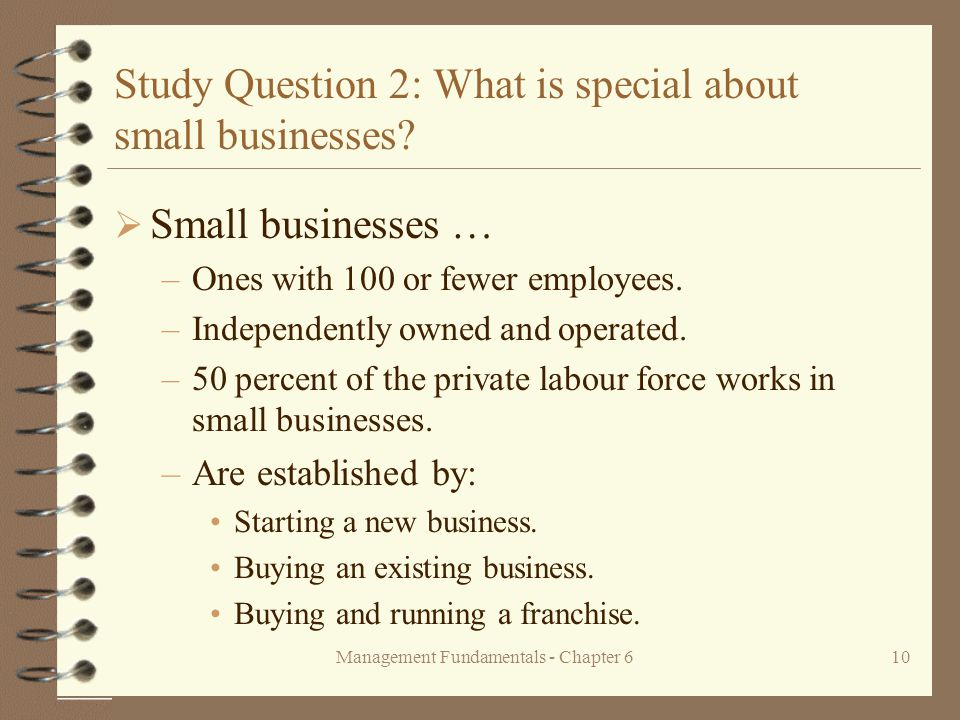 Management Fundamentals - Chapter 610 Study Question 2: What is special about small businesses.