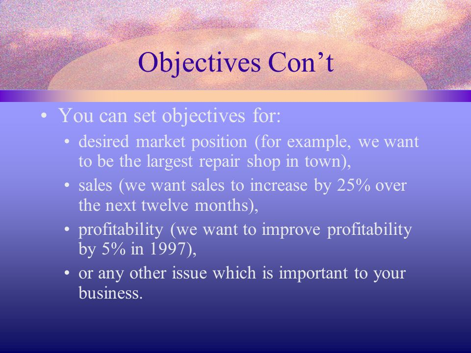 Objectives Con't You can set objectives for: desired market position (for example, we want to be the largest repair shop in town), sales (we want sale