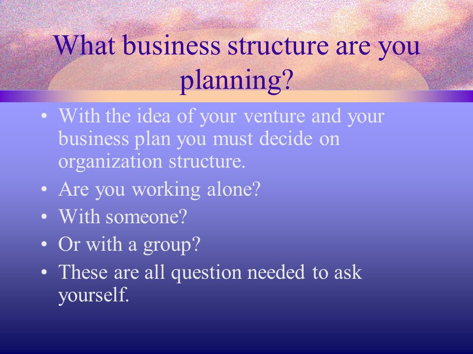 What business structure are you planning? With the idea of your venture and your business plan you must decide on organization structure. Are you work