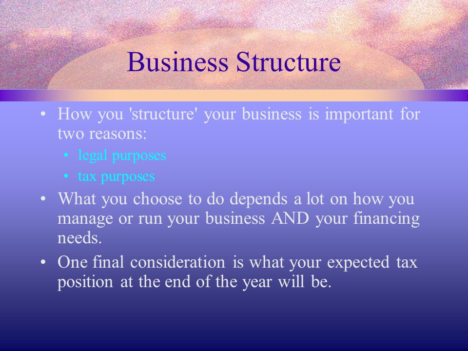 Business Structure How you 'structure' your business is important for two reasons: legal purposes tax purposes What you choose to do depends a lot on