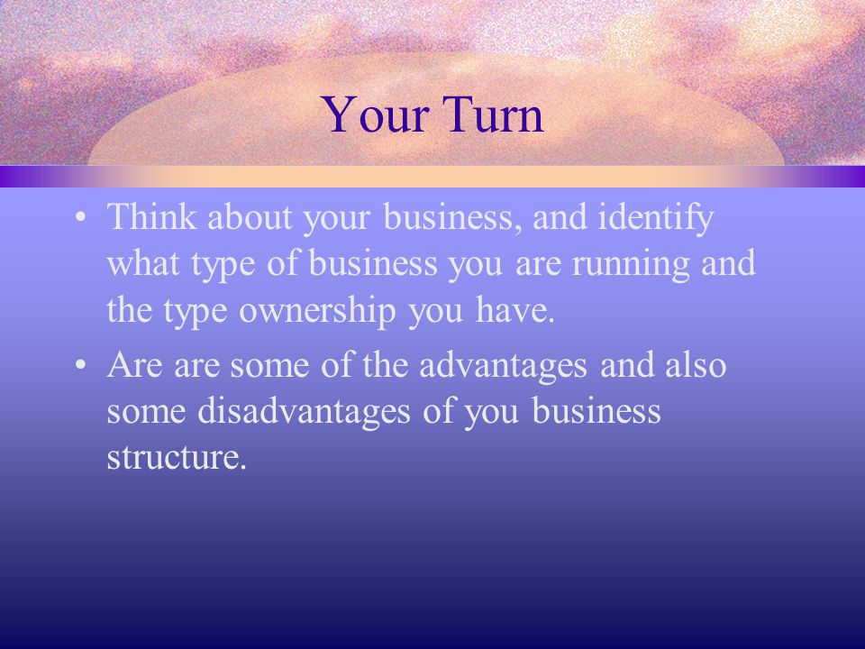 Your Turn Think about your business, and identify what type of business you are running and the type ownership you have. Are are some of the advantage