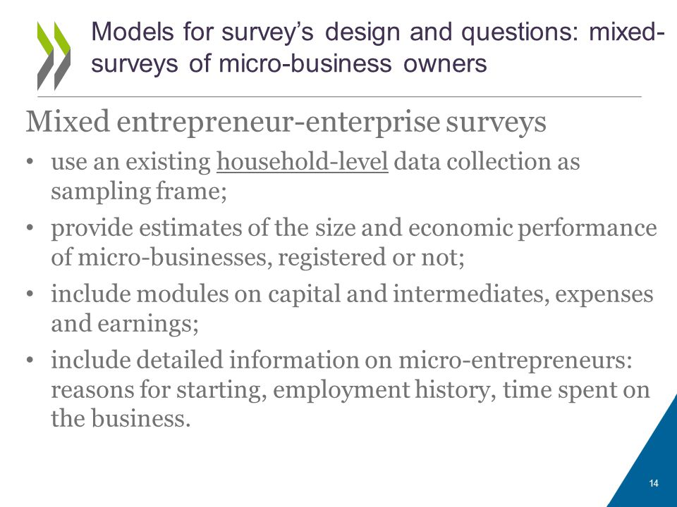 Mixed entrepreneur-enterprise surveys use an existing household-level data collection as sampling frame; provide estimates of the size and economic performance of micro-businesses, registered or not; include modules on capital and intermediates, expenses and earnings; include detailed information on micro-entrepreneurs: reasons for starting, employment history, time spent on the business.
