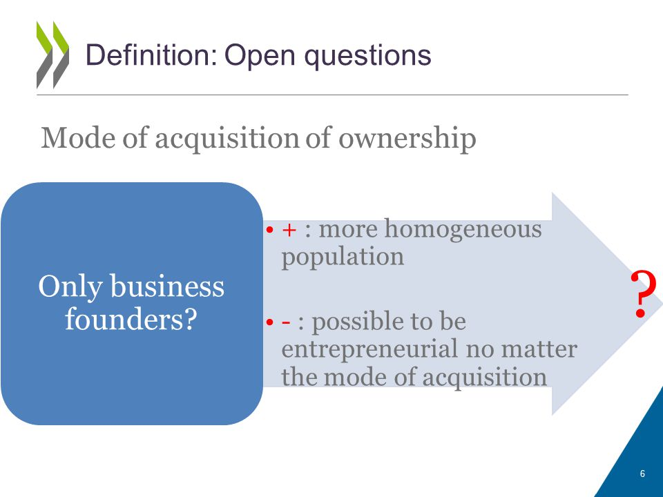 Mode of acquisition of ownership 6 Definition: Open questions Only business founders.