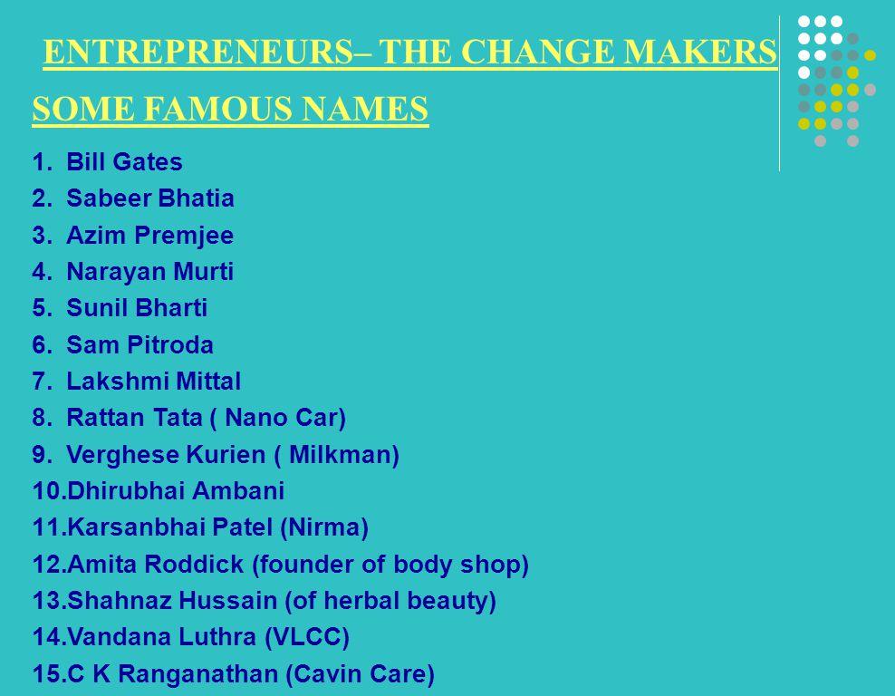 ENTREPRENEURS– THE CHANGE MAKERS SOME FAMOUS NAMES 1.Bill Gates 2.Sabeer Bhatia 3.Azim Premjee 4.Narayan Murti 5.Sunil Bharti 6.Sam Pitroda 7.Lakshmi Mittal 8.Rattan Tata ( Nano Car) 9.Verghese Kurien ( Milkman) 10.Dhirubhai Ambani 11.Karsanbhai Patel (Nirma) 12.Amita Roddick (founder of body shop) 13.Shahnaz Hussain (of herbal beauty) 14.Vandana Luthra (VLCC) 15.C K Ranganathan (Cavin Care)