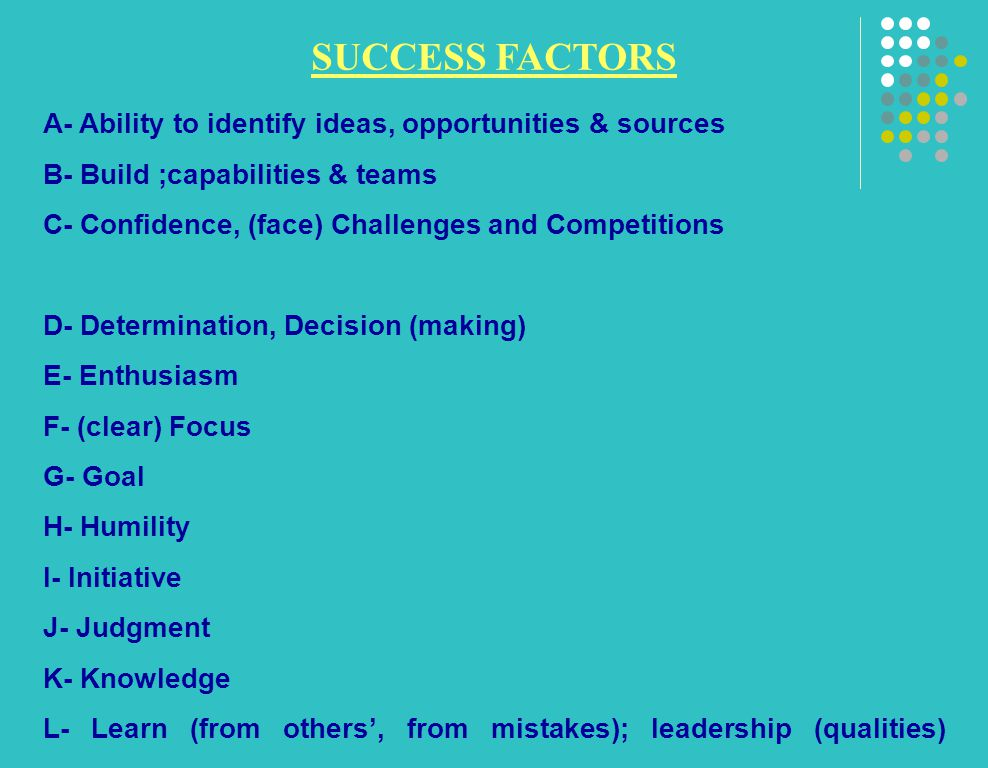 SUCCESS FACTORS A- Ability to identify ideas, opportunities & sources B- Build ;capabilities & teams C- Confidence, (face) Challenges and Competitions D- Determination, Decision (making) E- Enthusiasm F- (clear) Focus G- Goal H- Humility I- Initiative J- Judgment K- Knowledge L- Learn (from others', from mistakes); leadership (qualities)