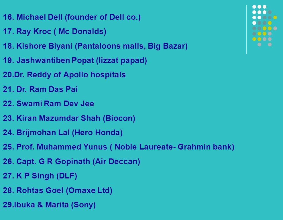 16. Michael Dell (founder of Dell co.) 17. Ray Kroc ( Mc Donalds) 18. Kishore Biyani (Pantaloons malls, Big Bazar) 19. Jashwantiben Popat (lizzat papa