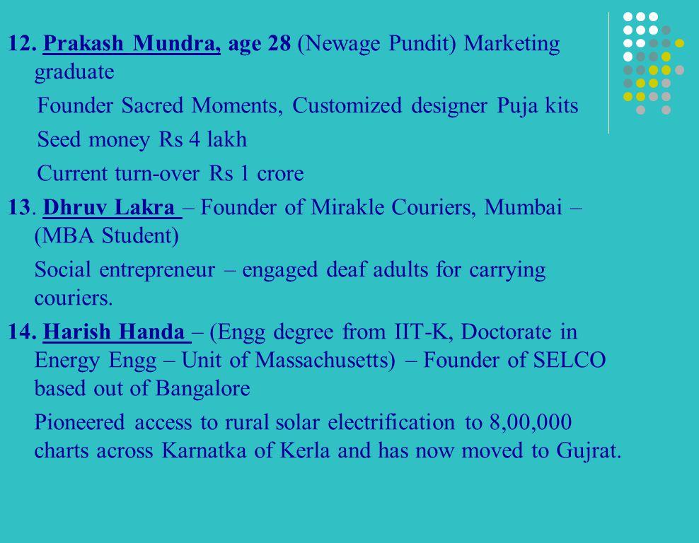 12. Prakash Mundra, age 28 (Newage Pundit) Marketing graduate Founder Sacred Moments, Customized designer Puja kits Seed money Rs 4 lakh Current turn-
