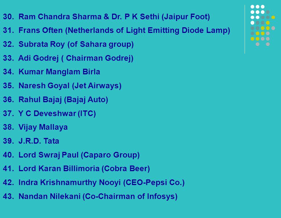 30. Ram Chandra Sharma & Dr. P K Sethi (Jaipur Foot) 31. Frans Often (Netherlands of Light Emitting Diode Lamp) 32. Subrata Roy (of Sahara group) 33.