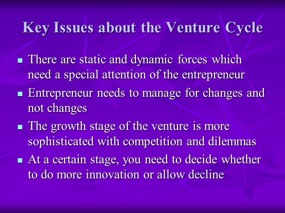 Key Issues about the Venture Cycle There are static and dynamic forces which need a special attention of the entrepreneur There are static and dynamic forces which need a special attention of the entrepreneur Entrepreneur needs to manage for changes and not changes Entrepreneur needs to manage for changes and not changes The growth stage of the venture is more sophisticated with competition and dilemmas The growth stage of the venture is more sophisticated with competition and dilemmas At a certain stage, you need to decide whether to do more innovation or allow decline At a certain stage, you need to decide whether to do more innovation or allow decline