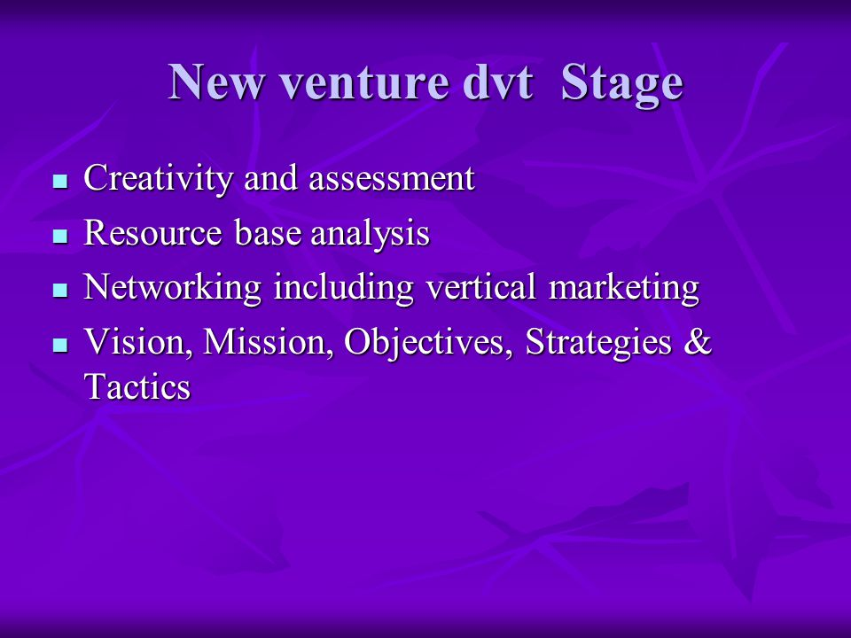 New venture dvt Stage Creativity and assessment Creativity and assessment Resource base analysis Resource base analysis Networking including vertical marketing Networking including vertical marketing Vision, Mission, Objectives, Strategies & Tactics Vision, Mission, Objectives, Strategies & Tactics