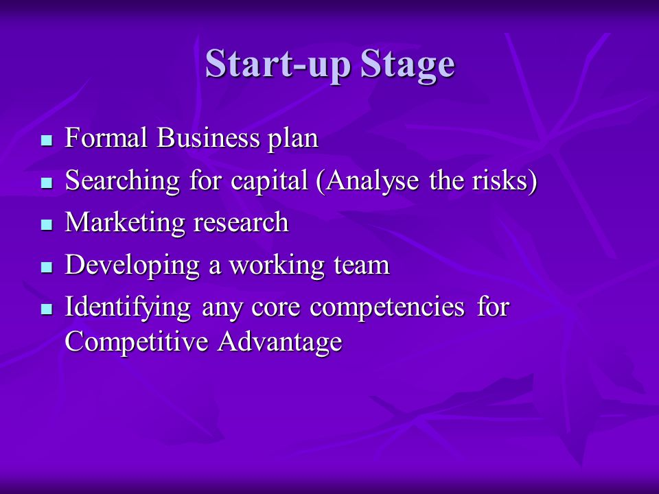 Start-up Stage Formal Business plan Formal Business plan Searching for capital (Analyse the risks) Searching for capital (Analyse the risks) Marketing